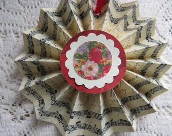 Handmade Victorian Valentine Decoration Cottage Chic Ornament Roses Flowers Script with Music