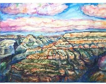 GRAND CANYON Rimshot - 11x15 original painting landscape watercolor OOAK-Original, Western, Arizona, Canyon, Desert Southwest