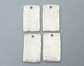 Tribal Charm, Rustic Pendant, Silver Pewter Rectangle Pendant Jewelry Supply  Q2-8 4