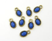 8 pcs Small Blue Earring Drop Dangle Charm Antique Gold Small Blue Pendant Charm Gold Frame Blue Teardrop Cab Jewelry Component |B8-8|8