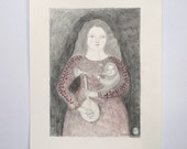 early music II - an original pencil drawing - portrait of a woman musician