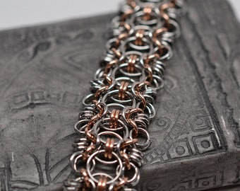 Bronze & stainless steel byzantine helm hybrid wide cuff style chainmaille bracelet
