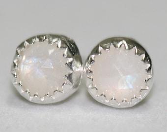 Moonstone Earrings, Blue Flash Moonstone Stud Earrings, Moonstone Post Earrings, June Birthstone, Sterling Earrings by Maggie McMane Designs