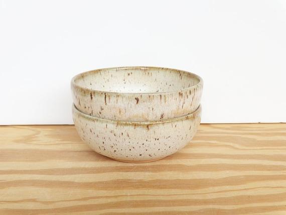 Pottery Prep Bowls Stoneware Ceramic in Satin Oatmeal Glaze - Set of 2