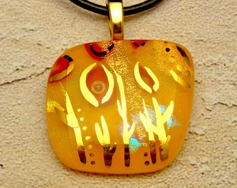 Retro Nature Show - Yellow Dichroic Fused Glass Pendant Hand Painted in 22k Gold