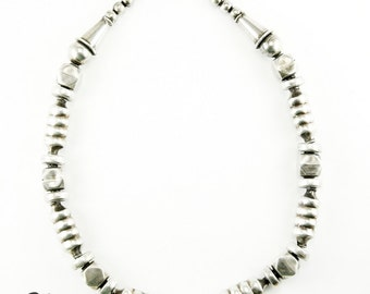 Oxidized Sterling Silver Geometric Beaded Necklace (N85)