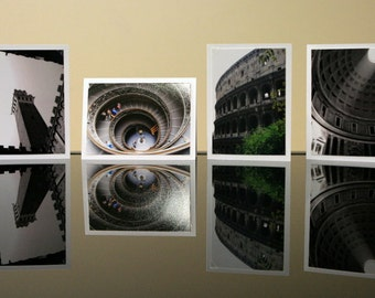Roman Holiday - 3.5 x 5 photo cards set, prints with blank cards and envelopes, Vatican Rome Italy travel photography, circular stairs clock