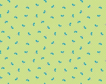SALE Green Wildflower Spot Fabric by Melly & Me for Riley Blake Designs WILDFLOWER MEADOW 1 Yard