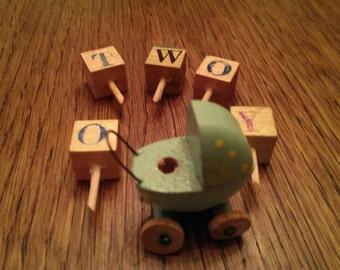 Vintage Baby Buggy Wooden Blocks Birthday Cake Candle Holder Decoration