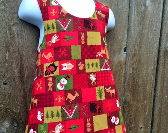 Pinafore Size 2T --- Christmas Critters Reversible Pinafore (((ready to ship)))
