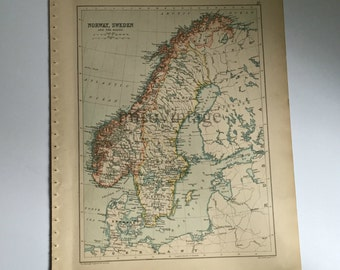 antique double sided map Norway, Sweden, and Russia 1890 - Century Atlas and Gazetteer - London