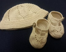 Crochet Hat and Booties Baby Boy T Strap Booties Newborn or Reborn Doll
