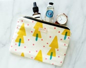 Pouch . Clutch . Cosmetic Bag . Block printed . Handmade . Handprinted . One of a Kind