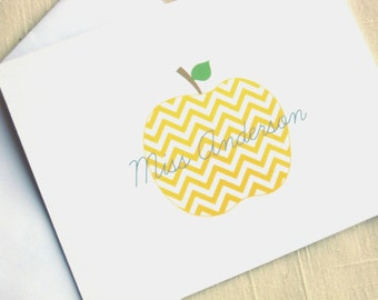 Chevron Apple Note Cards - Yellow and Gray - Personalized Teacher Note Cards  - Set of 25