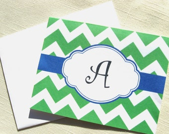 Green Chevron Stationery  - Set of 8 Monogrammed Cards