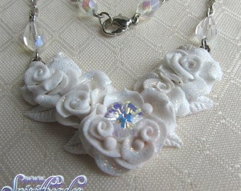 Crystal Rose Petals Polymer Wedding Pendant Chain Necklace
