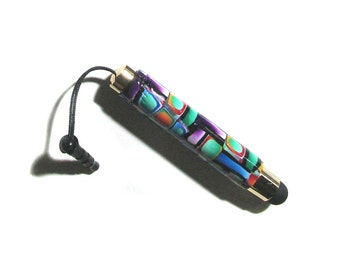 Touch screen Stylus with plug gold plate finish Millefiori polymer clay design nbr16