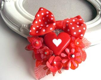 Hair Clip kawaii lolita accessory red love heart  Valentine s day