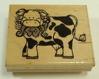 Small Buttercup Cow Wood Mounted Rubber Stamp By JRL Design N168
