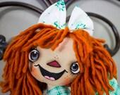 Primitive Raggedy Ann Handmade Cloth Doll- Sasha Annie HAFAIR