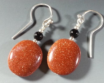 Sparkling Goldstone and Sterling Silver Earrings with Black Onyx