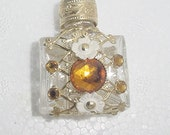 Fancy Perfume Bottle -Brass Openwork with Rhinestones -- Small Size for Purse or Pocket..