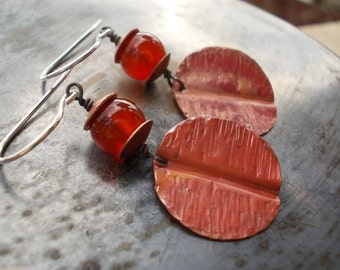Carnelian raw copper disc sterling silver earrings, handmade jewelry textured hammered organic, long dangle earring, handmade rustic jewelry
