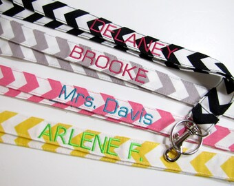 Names on Lanyards Personalized Chevron Lanyards, Nurse Name Lanyard, Teacher Appreciation, Teacher End of Year Gift, Name Lanyard 15 Letters