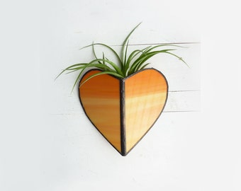 Air Plant Holder - Stained glass Heart Sconce -Orange sunset