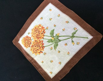 Vintage Brown and White Ladies' Hankie/Handkerchief with Yellow Flowers