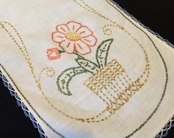 Vintage White Hand Embroidery Table Runner/Dresser Scarf with Blue and White Crochet Trim Flower in Flower Pot