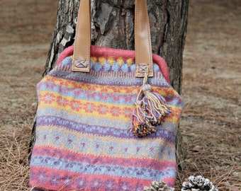 pdf pattern for Large knitted felted colorful bag in Fair Isle pattern