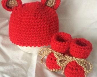 Crochet Teddy Bear Gift Set Newborn to 3 months in Valentine Red