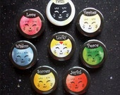 "Colorful Friendly Cats with Positive Affirmations 1.25"" Magnets or Pinback Buttons - Set of 8"