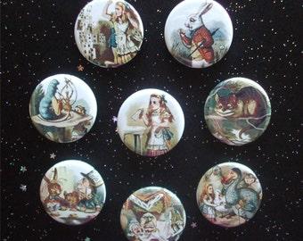 "Alice in Wonderland 1.25"" Magnets or Pinback Buttons - Set of 8"