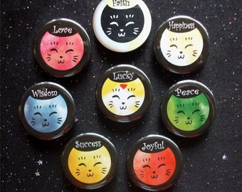 """Colorful Friendly Cats with Positive Affirmations 1.25"""" Magnets or Pinback Buttons - Set of 8"""