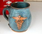 Caduceus or Medical Symbol Mug in Slate Blue- Made to Order