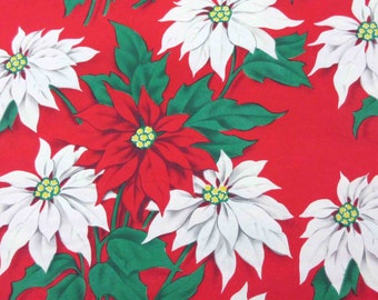 Vintage Red Christmas Wrapping Paper or Gift Wrap with Red and White Poinsettias