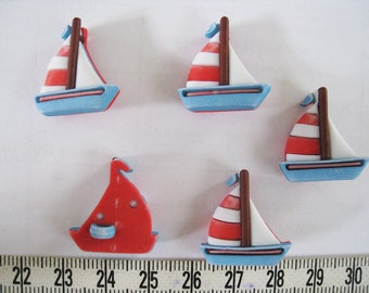 10pcs of Sailboat Sailing Boat Button -   Blue with Red Sail Matte