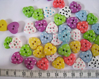 25 pcs of polka dot heart  button in mixed color