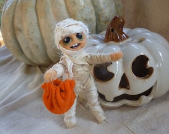Mummy Trick or Treater Needle Felted Figure