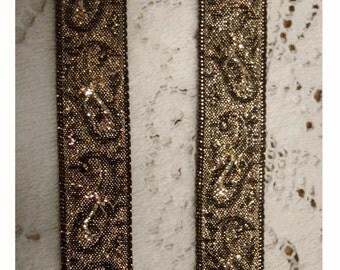 VINTAGE MeTTALIC GOLD Paisley Pattern on Black Rayon Ribbon Back - Jacquard Ribbon - Yardage - Rennaisance Look