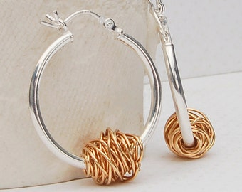 Sterling Silver and Yellow Gold 'Entwined' Hoop Earrings, Contemporary Hoops, Modern Earrings, Gift for Mum, Wire Wrapped Gold  Bead