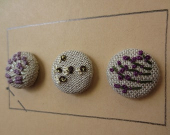 Herb Garden hand embroidered buttons