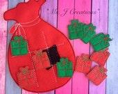 Santa Bag Felt Tic Tac Toe Game - Christmas Toy Game Kid Travel - READY TO Ship