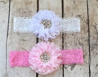 You Pick Pink White Lace Headband, Toddler Lace headband, Girls,  headband, Flower girl headband, Wedding headpiece Rhinestone Pearls