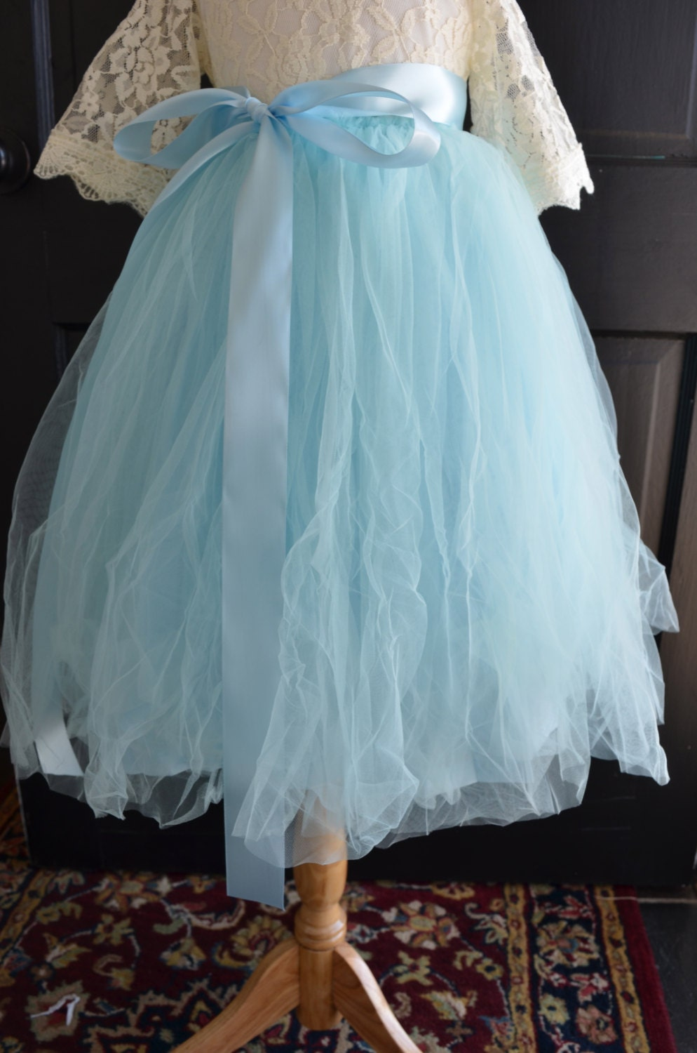 light blue sewn tulle skirt blue tutu toddler