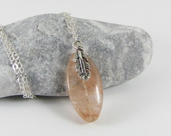 Red Rutilated Quartz and Sterling Silver Feather Pendant Necklace