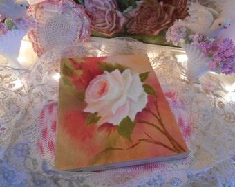 """original painting on canvas, vintage pale blush pink rose painting,  shabby cottage chic roses, unframed, 8"""" by 10"""" pinks, coral and cream"""