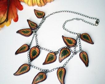 Polymer Clay Fall Leaf Necklace